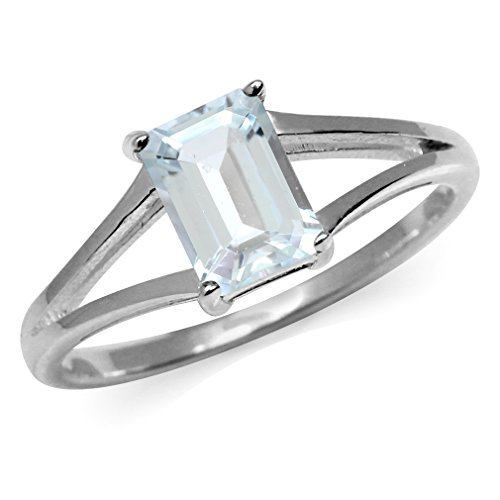 Genuine Blue Aquamarine White Gold Plated 925 Sterling Silver Solitaire Ring Size 9
