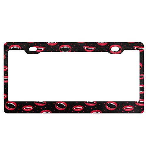 Fashion Halloween Decor Red Vampire Lips and Dots Metal License Plate Covers Cool Car Tag Fram