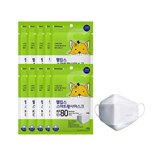 Welkeeps KF80 Anti-Yellow Dust Smog Microdust Earloop Face Mask Disposable 25 Count by Welkeeps