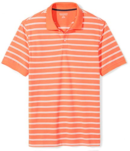 Amazon Essentials Men's Slim-fit Cotton Pique Polo Shirt, Coral Stripe, Large