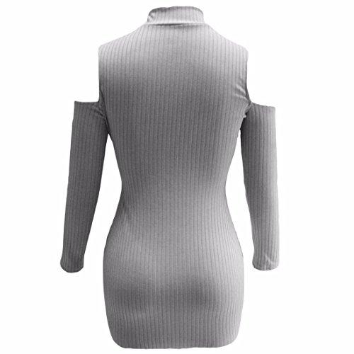 QIYUN.Z Womens Manches Longues Moulante Col Haut Robe Pull Épaule Creuse