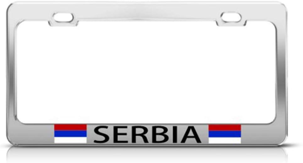 Speedy Pros Metal License Plate Frame Serbia Serbian Flag Country Car Accessories Chrome 2 Holes
