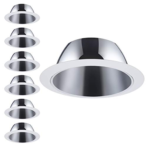 6 Pack 6 Inch Recessed Can Light Trim with Aluminum Reflector, for 6 inch Recessed Can, Detachable Iron Ring Included ()