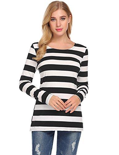 Open Striped Neck Shirt (SimpleFun Women's Casual Black and White Striped Shirt O Neck Long Sleeve Bottom T-Shirt Blouse Tops (M, Black))
