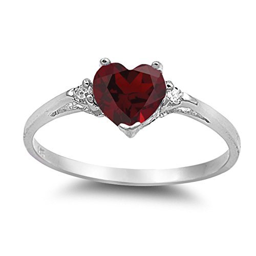 925 Sterling Silver Faceted Natural Genuine Red Ruby Heart Promise Ring Size 4 ()