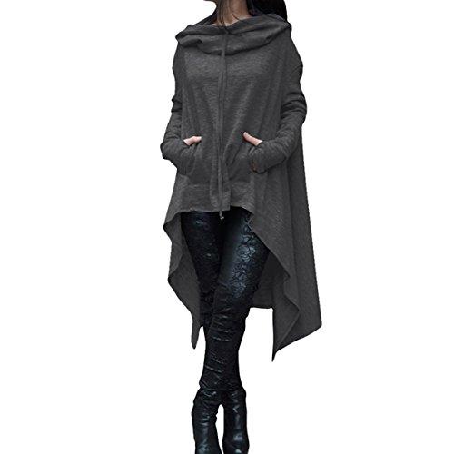 robe Dark ourlet basse shirt sweat QHDZ tunique femme Femmes manches Chemise l'automne longue longues asymtriques Grey haute capuche capuche tHH0T1xqw