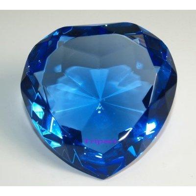 (Diamond Jewel Paperweight Sapphire Heart Shaped Cut 80mm)