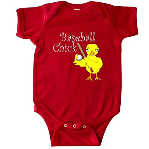 inktastic - Baseball Chick White Text Infant Creeper 6 Months Red 2f60c ()