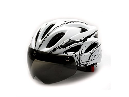 Junson Cycling Bicycle Helmet with Detachable Magnetic Goggles One-Piece Riding Helmet(White+Black) for Sports by Junson