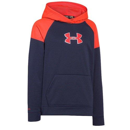 Under Armour Boys' Armour Fleece Storm Big Logo Woven Hoody Blue Knight / Bolt Orange / Bolt Orange XS