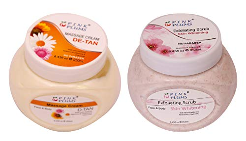 PINK PLUMS D-Tan Massage Cream and Skin-Whitening Scrub With Vitamin E 250 ml each (Pack of 2)