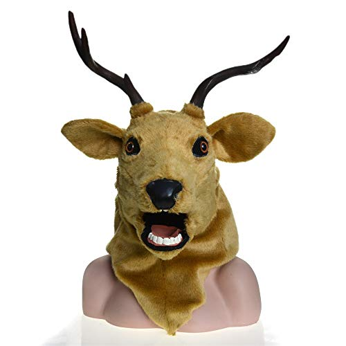 ZUAN Goat Head Pop Series Realistic Handmade Customized Masquerade Moving Mouth Mask Deer Simulation Fauna Mask (Color : Brown, Size : 2525) -