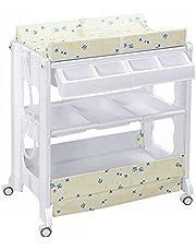 COSTWAY Babybadje en verschoonruimte, drie-in-één, luier verschonen, baden en babymassage, comfortabel, duurzaam, verplaatsbaar, gemakkelijk schoon te maken, stijlvol, drievoudig verschoontafel voor baby's met meerdere opbergruimten