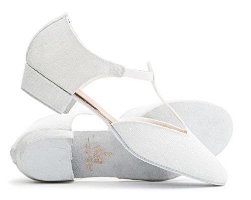Katz Paillete Dancewear Ballroom Cerco Danse Enseignant Sandale Jive Dames Filles Chaussure Grecque Salsa De Blanche CqAHHO