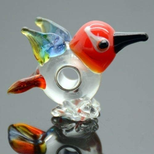 Pendant Jewelry Making Bird 3D Animal Lampwork Glass 20mm Single Core Large 4.5mm Hole Charm Bead