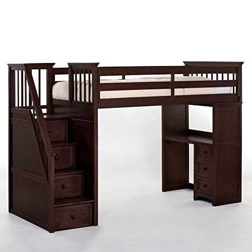 NE Kids School House Stair Loft Bed in Chocolate Finish: Chocolate