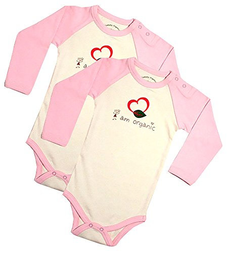 Ecobaby Organics Organic Cotton Long Sleeve Bodysuits Pink/Khaki 3m 2 - Ecobaby Organics Long Sleeve