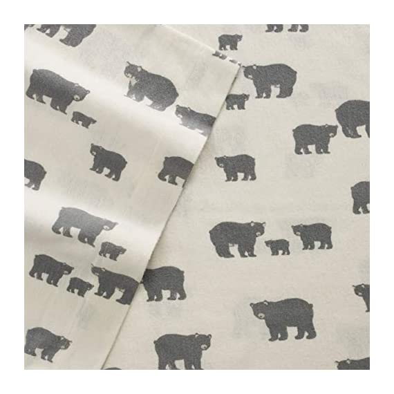 Eddie Bauer | Bear Family Collection | 100% Cotton Flannel Sheet, 3-Piece Bedding Set, Pre-Shrunk and Brushed for Ultra Soft and Cozy Feel, Twin, Grey - INCLUDES: (1) fitted sheet, (1) flat sheet, (1) pillowcase MATERIAL: 100% Cotton Flannel FEATURES: Pre-shrunk and brushed for added softness. Fully elasticized fitted sheet prevents slipping from mattress and ensures a perfect fit - sheet-sets, bedroom-sheets-comforters, bedroom - 41If0os6N6L. SS570  -