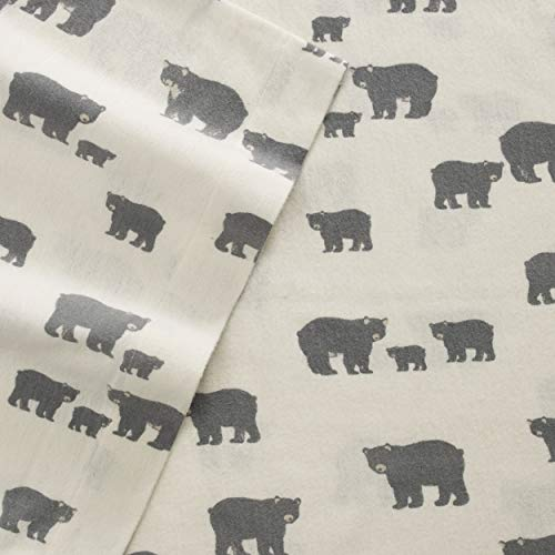 - Eddie Bauer Bear Family Twin Flannel Sheet Set, Gray