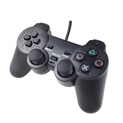 Wired PS2 Controller Compatible with Playstation 2 Console Dualshock 2 Controller, Built-in-Double Vibration Motors with Sensitive Control and Cord 5.9ft, Work for All PS2 Models.