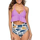 Caopixx Swimsuit for Women High Waisted Tummy Control Two Piece Tankini Ruffled Top with Swim Bottom Purple