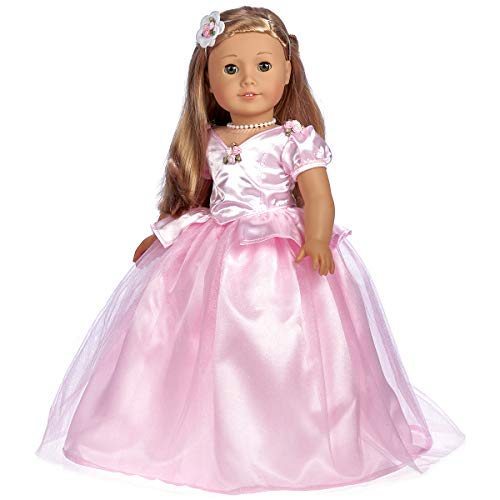 DreamWorld Collections - Pretty Pink - Gown, Necklace and Headpiece - Clothes Fits 18 Inch American Girl Doll (Doll Not Included)