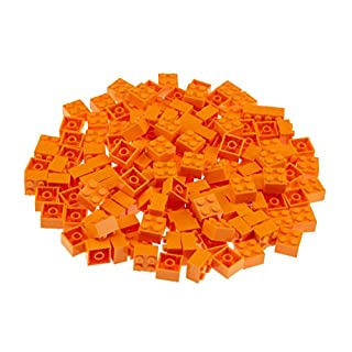 Strictly Briks Classic Bricks 144 Piece 2x2 Orange Building Brick Creative Play Set - 100% Compatible with All Major Brick Brands