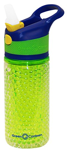 Green Canteen DWTBGK-400-BGG Double Wall Tritan Plastic Hydration Bottle with Beaded Freeze Gel, Sippy Cap and Silicone Band, 12 oz, Blue/Green