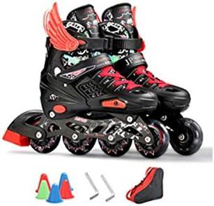 Patines en línea, patines para niños al aire libre, cuatro ruedas de tamaño ajustable, soporte de aleación de aluminio con cojinetes de alta carga, ...