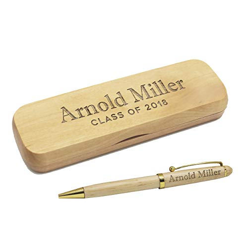 Custom Engraved Ballpoint Pen with Personalized Case - Wood Pen Set for Lawyers, Doctors, Teachers, Graduates, Students (Maple)