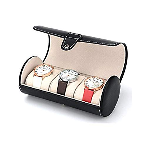 Autoark Leather Roll Travelers Watch Storage Organizer for 3 Watch and/or Bracelets (Black),AW-006