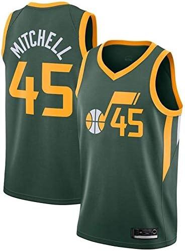 メンズレディースジャージ-NBAユタジャズ45#ミッチェルジャージ 刺繍入りバスケットボールスウィングマンジャージユースノースリーブトップ (Color : L :180cm/75~85kg)