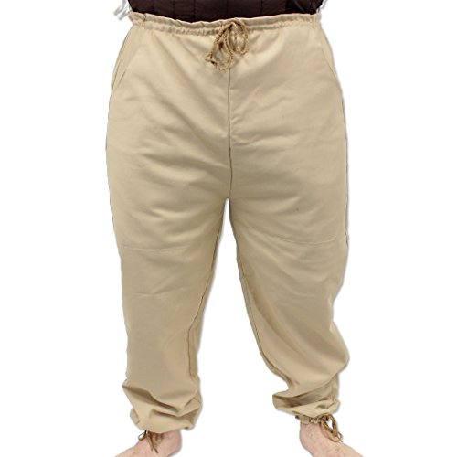 Middle Ages Medieval Landsknecht RenFest Pants Beige Trousers Costume (Middle Ages Costumes)