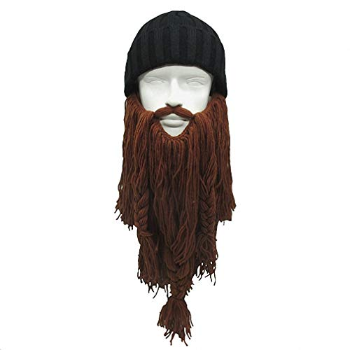 Tebapi Unisex Skullies Beanies Funny Handmade Women Men Wool Mustache Knitted Hats Face Mask Wig Beard Beanies Bonnet Caps Button Connected 011]()