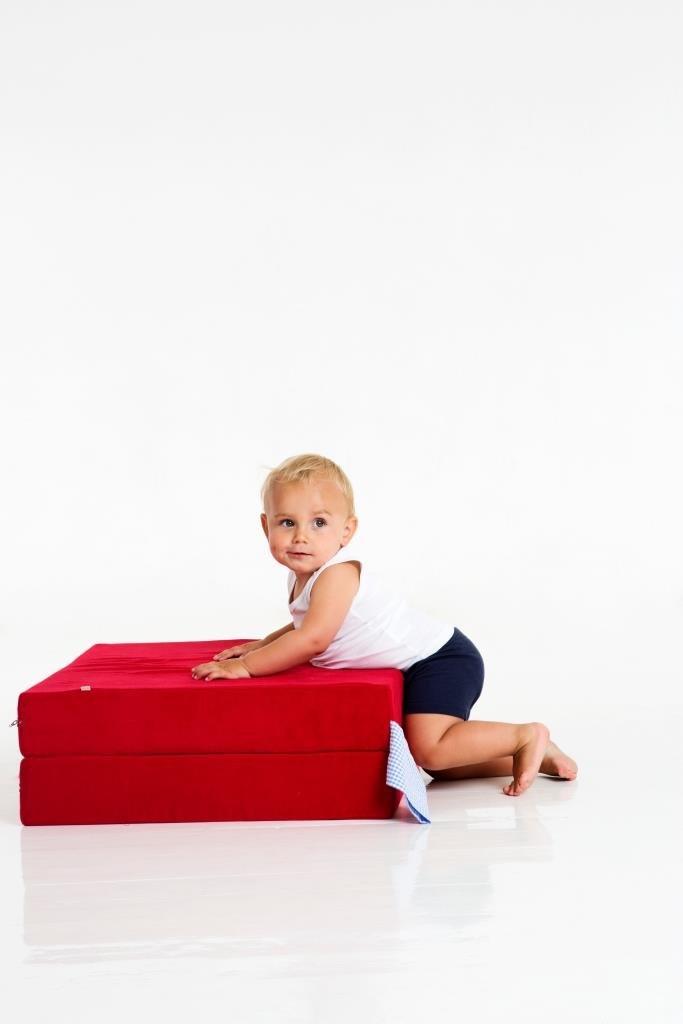 Spielpolster für Kinder - Klapppolster - Klappmatratze - Spielmatratze - Gästematratze Kord (blau)