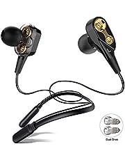 ALWUP Auriculares Bluetooth, Audifonos Inalámbricos con Cuello Dual Driver Dynamic Neckband Headphones con Micrófono Bluetooth 5.0 Earphones In-ear Deportivos en Funcionamiento Gimnasio