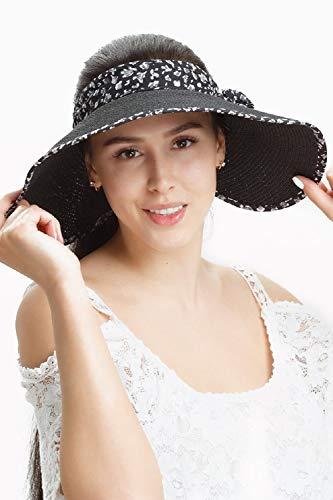 Straw Sun Visor Hats Women Large Brim Summer Hat UV Protection Beach Cap Foldable (Black)