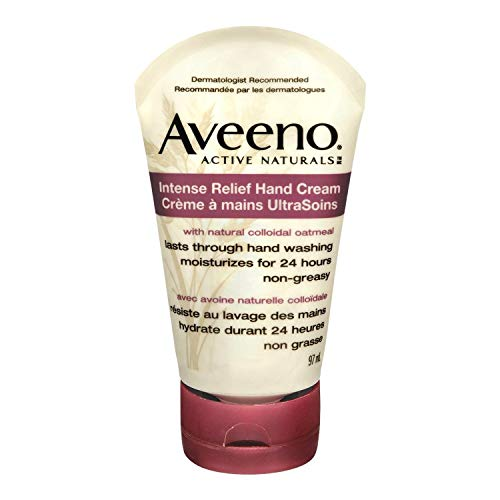 Aveeno Skin Relief Intense Moisture Hand Cream with Soothing Oat and Rich Emollients for Dry Skin, 24 Hour Moisture, Fragrance and Steroid Free, 3.5 oz