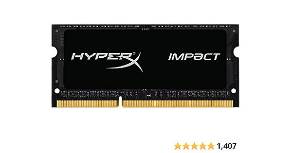 HyperX RAM Impact 8GB 1600Mhz DDR3L CL9 SODIMM Gamer Memoria Para LAPTOP Color Negro (HX316LS9IB/8)