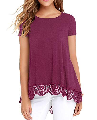 (QIXING Women's Tops Short Sleeve Lace Trim O-Neck A-Line Tunic Blouse VG Rose Red-XL)
