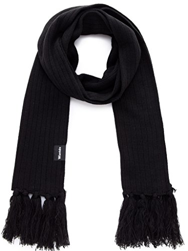 Wantdo Unisex Black Winter Scarf Thick Knitted Scarf - Black Cashmere Knit Scarf