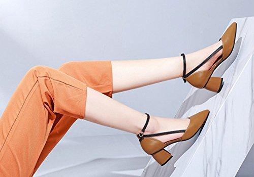 LBDX Talon épais Petite pointe Colorblock Cowhide Chaussures pour femmes (Couleur : Caramel color, taille : 39) Beige