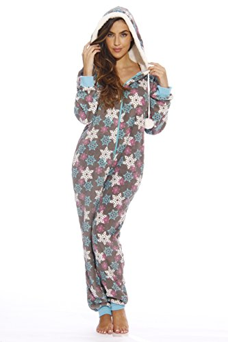 Just Love Adult Onesie / Pajamas, Winter Flakes (Plush), Medium