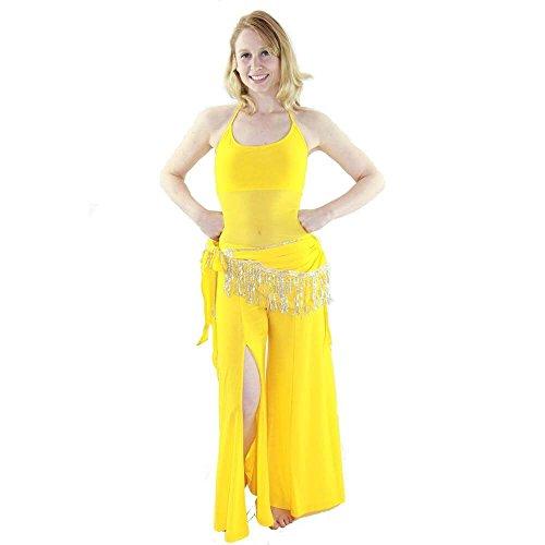 Danzcue Semi-transparent 3-Piece Belly Dance Costume, Yellow, S (Belly Dance Costumes Large Ladies)