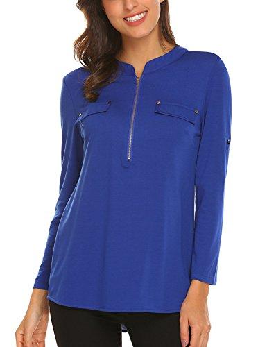 SE MIU Women Summer V Neck Solid Loose Casual Cuffed Long Sleeve Office Blouse, Blue, - Miu Top Miu