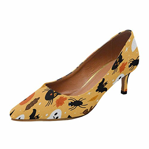 Talon De Chaton Faible Dinterestprint Womens Bout Pointu Chaussures De Pompe De Robe Modèle Halloween Avec Le Fantôme, Le Crâne, La Citrouille Et Le Chat Noir Multi 1