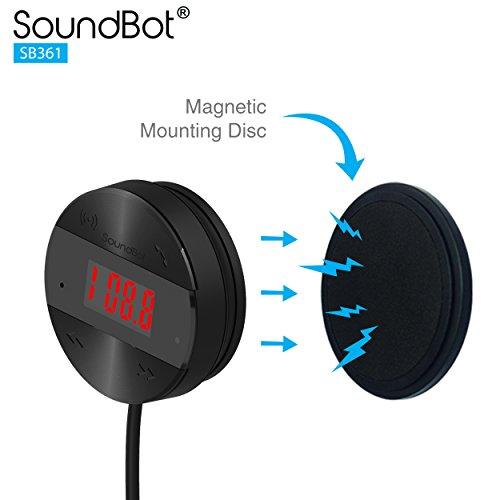 SoundBot SB361 FM RADIO Wireless Transmitter Receiver Adapter Universal Car Kit Music Streaming & Hands-Free Talking Dongle 3 Port USB Car Charger Bundle + Magnetic Mount by Soundbot (Image #5)