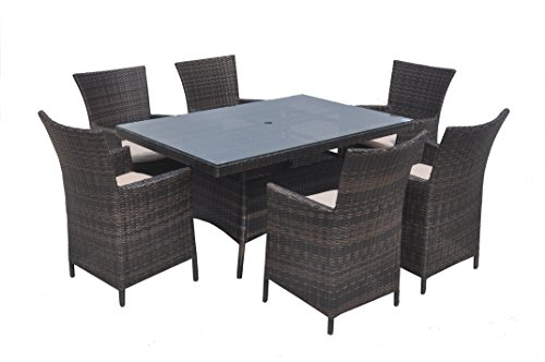Mountain River Decor 7-Piece Cushioned Outdoor Wicker Rattan Dining Set, Full, Mixed Brown Wicker with Ivory Cushions. Includes 6 Chairs.