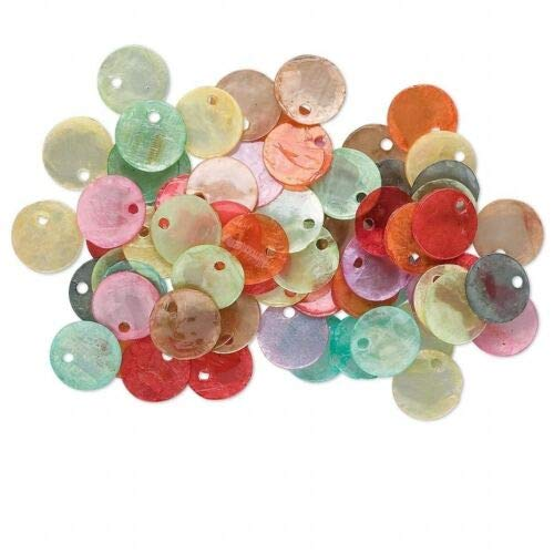 100 Mixed Capiz Shell Coated Coin Drop Charms 10mm Assortment