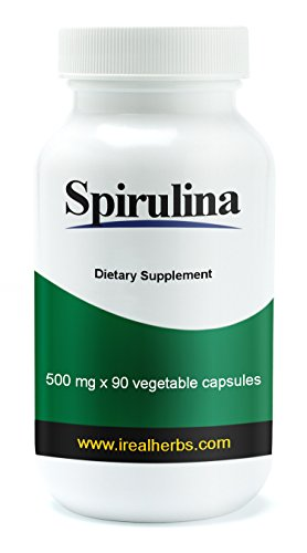 Real Herbs Spirulina Capsules - 500mg X 90 capsules - A Good Source of Multivitamin in a Single Capsule
